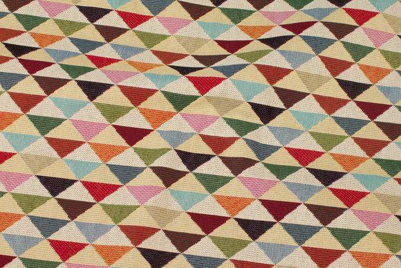 Beige møbeljacquard med multifarvede trekanter