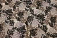 Bomuldspoplin med blade i grå nuancer