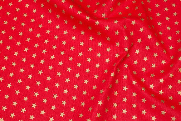 Kraftig rød deko- bomuld med 1 cm guldstjerner