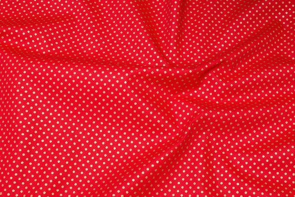 Kraftig rød deko-bomuld med lille guldprik
