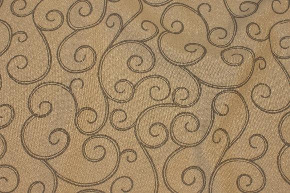Sandfarvet hørlook dekostof med glitter
