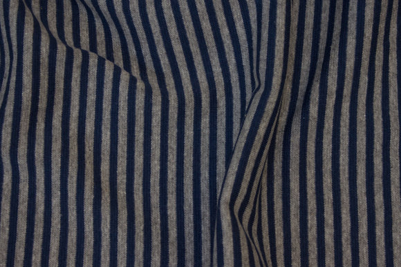 Smalstribet rib i grå og marine, 4 mm strib på tværs