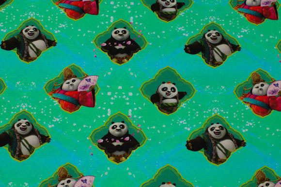 Turkisgrøn bomuldsjersey med Kung Fu Panda
