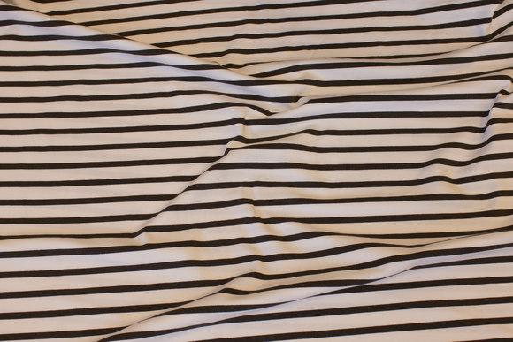 Tværstribet, let bomuldsjersey i hvid og grå, 12 mm stribe