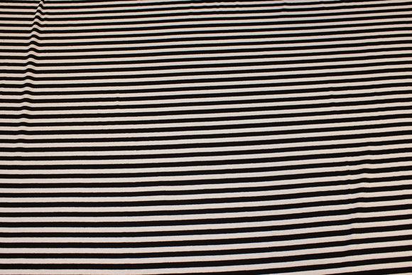 Tværstribet viscosejersey i sort og hvid, 8 mm stripe
