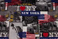 Vævet bomuldspoplin med New York- motiver