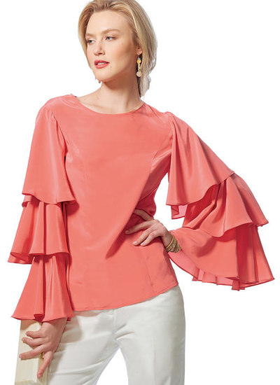 Princess Seam Tops with Flared Sleeve Variations, Vogue Easy Options