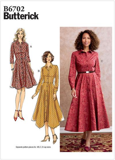 Kjole med knaplukning, taljebånd og vidde