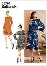 Klassisk kjole med krave, to længder. Butterick 6705.