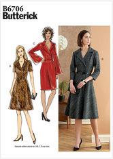 Kjole i klassisk stil med revers, knælang. Butterick 6706.