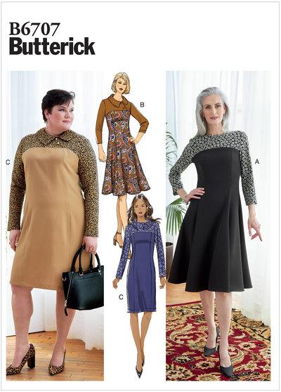 Kjole med krave og kontrastmønster