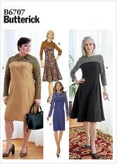 Kjole med krave og kontrastmønster. Butterick 6707.