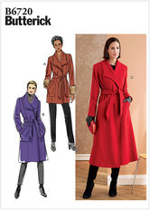 Lang klassisk frakke med bælte og revers. Butterick 6720.