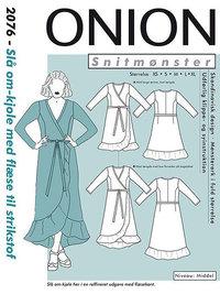 Slå-om kjole med flæse. Onion 2076.