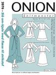 Onion 2076. Slå-om kjole med flæse.