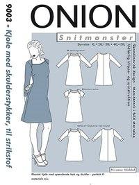 Kjole med skulderstykker, plus størrelse. Onion 9003.