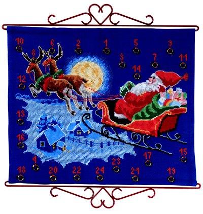 Pakkekalender - Julemand flyver i kanen