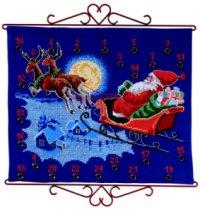 Pakkekalender - Julemand flyver i kanen. Permin 34-5211.