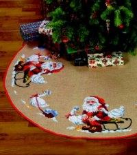 Stort juletræstæppe med stor Nisse og Gås. Permin 45-0290.