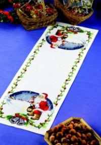 Bordløber - Julemand med lygte og klokker. Permin 68-2205.