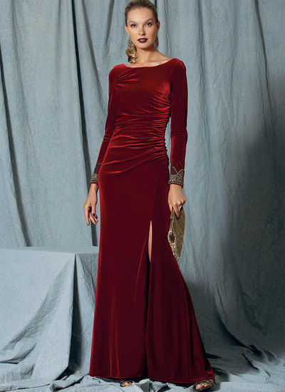 Side-Gathered, Long Sleeve Dress with Beaded Trim, Badgley Mischka
