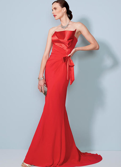 Strapless, Front-Drape Dress with Train, Bellville Sassoon