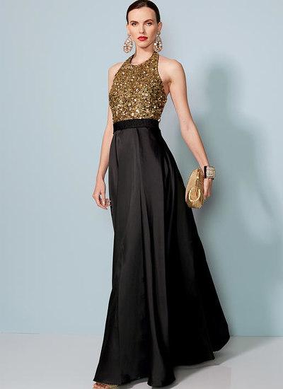 Halter-Neck, Pleated Floor-Length Dress, Badgley Mischka