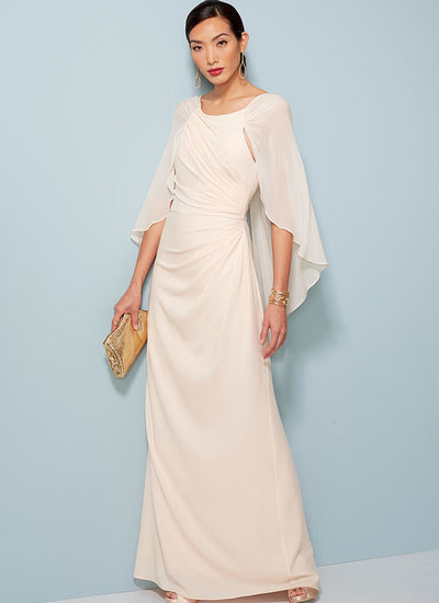 Pleated and Ruched Dress with Attached Kappe, Badgley Mischka