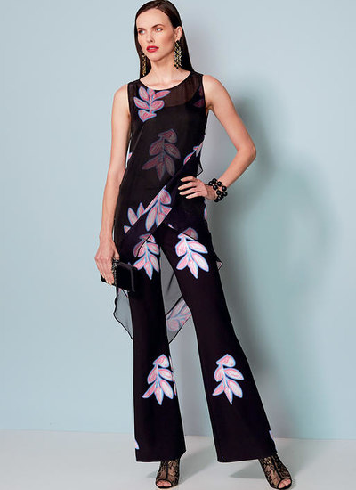 Banded, Asymmetrical-Hem Tunic and Flared-Leg Jumpsuit, Nicola Finetti