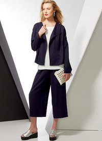 Drop-Shoulder Jackets, Belt, Top with Yokes, and Pull-On Pants. Vogue 9246.