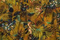 Elegant Cupro mousselin med blade i skovfarver