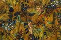 Elegant Cupro mousselin med blade i skovfarver.