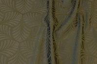 Elegant jacquardvævet dugestof i mørk olivengrøn med ca. 6 cm bladmønster