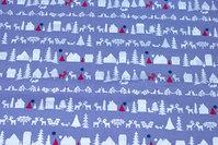Grå julebomuld med huse og træer