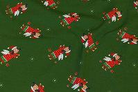 Grøn jule bomuldsjersey med ca. 6 cm store nisseengle
