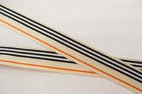 Grosgrain bånd sand, sort og orange