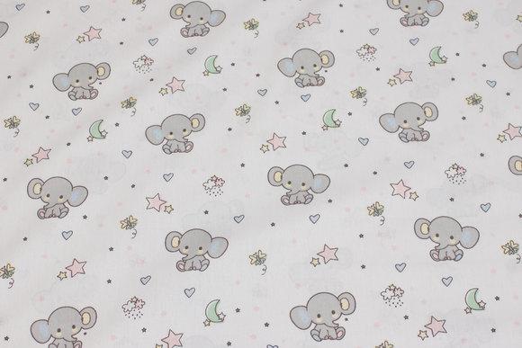 Hvid fast bomuld med ca. 4 cm lysegrå elefanter