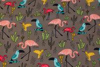 Jordfarvet isoli med ca. 7 cm flamingoer