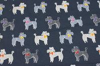 Koksgrå bomuldsjersey med ca. 6 cm store hunde