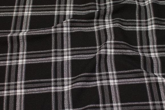 Mellemsvær kjole-strækcrepe i sort og grå