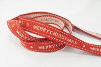 Merry christmas bånd, rød 1,5cm bred