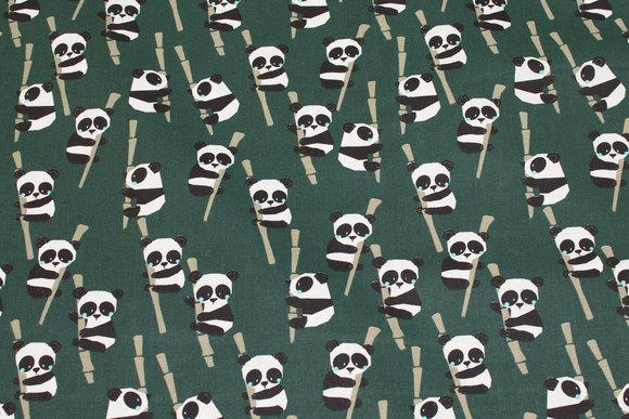 Mørkgrøn, Gots økologisk, fast bomuld med pandaer