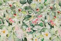 Off white bomuldsjersey med grønne blade og rosa blomster