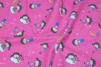 Pink bomuldsflonel med ca. 5 cm store børn