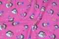 Pink bomuldsflonel med ca. 5 cm store børn.
