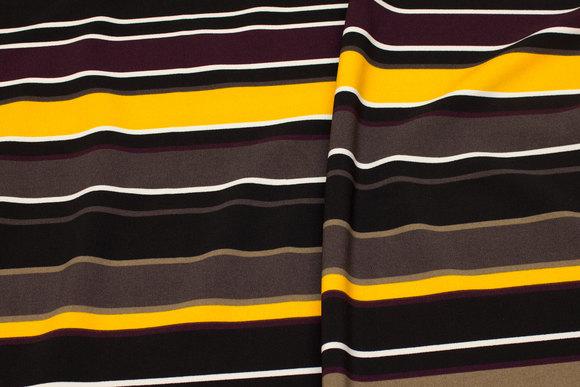 Polyester strækcrepe i aubergine, jord, gul