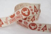 Retrolook julebånd, kitfarvet og vinterrød 2,5cm bred