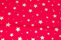 Rød julebomuld med ca. 1-2 cm guldstjerner og prikker