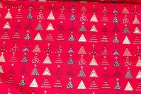 Rød julebomuld med ca. 2 cm juletræer