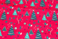 Red christmas-cotton with ca. 3-7 cm green trees.